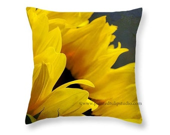 Rustic Sunflower Closeup Flower Floral Square Pillow Fine Art Photography Home Decor