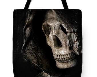 Goth Grim Reaper Canvas Tote Bag, Gothic Tote, Dark Morbid Skeleton, Halloween, Book Bag,Reusable Shopping Bag, Farmer's Market Tote bag