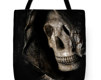 Goth Grim Reaper Canvas Tote Bag, Gothic Tote, Dark Morbid Skeleton, Halloween, Book Bag,Reusable Shopping Bag, Farmer's Market Tote bag