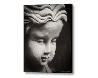 Oriental Asian Zen Girl Child Statue Black and White Spa Meditation Decor Fine Art Print or Canvas