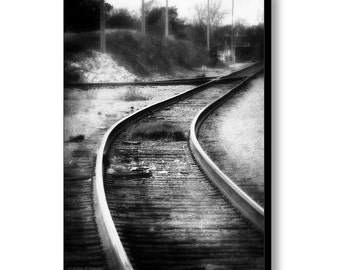Train Tracks Railroad Yard Dark Dreamy Surreal Industrial Urban Landscape Black and White Fine Art Photography Giclee Gallery Wrap Canvas
