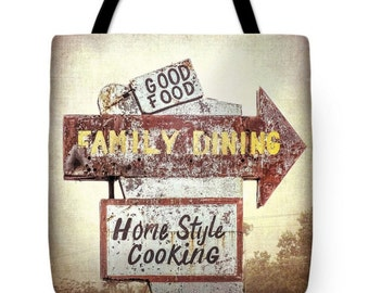 Retro Vintage Restaurant Signage Country Cooking Canvas Tote Bag, Rustic Roadside Diner Sign Reusable Shopping Bag, Farmer's Market Tote bag