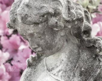 Victorian Angel Child Statue Pink Azaleas, Charleston South Carolina Cemetery Fine Art Photography Print or Gallery Canvas Wrap Giclee