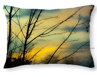 Winter Sunset Sky with Bare Tree Branches, Landscape Nature Photo, Travel Pillow, Rectangle Pillow with Fine Art Photography Home Decor