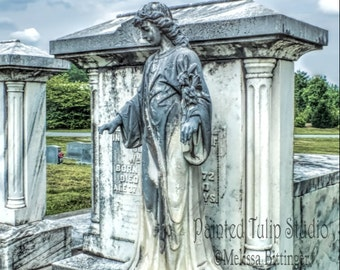 Cemetery Mausoleum Angel in Color Victorian Era Graveyard Mortuary Art  Fine Art Photography Print or Gallery Canvas Wrap Giclee