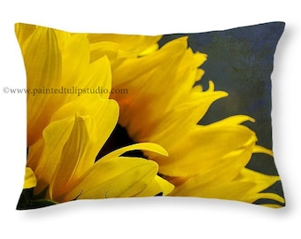 Sunflower Floral Yellow, Navy Travel Pillow, Rectangle Pillow with Fine Art Photography  Rustic Home Decor