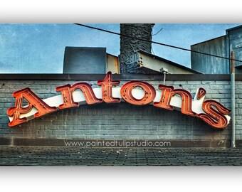 Signage Anton's Italian Restaurant Greensboro NC  panoramic panorama 1 x 2 ratio Fine Art Photography Print or Gallery Canvas Wrap Giclee