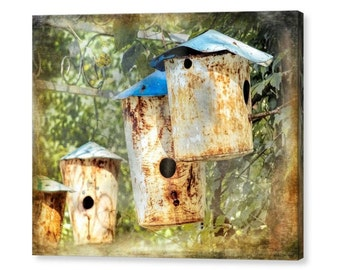Charming Shabby Cottage Rustic Metal Birdhouses Garden Still Life Fine Art Photography Giclee Gallery Wrap Canvas