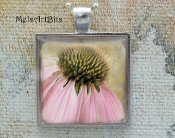 Faded Pale Pink Flower Pendant, Coneflower, Cone Flower, Shabby Chic Garden Flowers Botanical Nature Woodland Photo Pendant Necklace