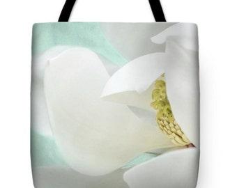 Magnolia Floral White Aqua Canvas Tote Bag,Beach Bag, Book Bag, School Bag, Reusable Shopping Bag, Farmer's Market Tote bag , Fine Art Tote