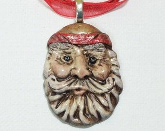 Hippie Biker Santa Claus Pendant Necklace  Clay Jewelry