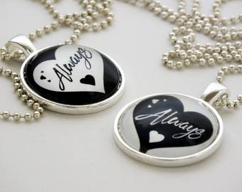 Goth Always in my Heart Pendant Necklace  Black Heart White Hearts, Pendant Charm Necklace or Key Ring Fob Anniversary Valentines's Day