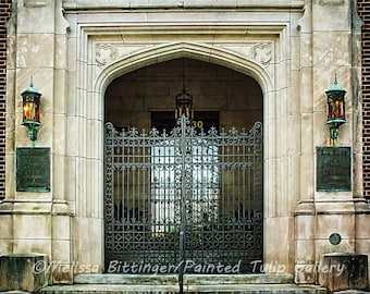 Wrought Iron Gate Entrance Classic Revival Architecture Building Historic Downtown Fine Art Photography Print or Gallery Canvas Wrap Giclee