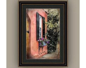Charleston SC Queen St Row Home Architecture Door Window Flower Box, Terra Cotta Black Shutters Fine Art Photography Print