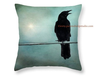 Black Crow Raven Teal Aqua Sky Magical Surreal Gothic Romance Square Accent Pillow Fine Art Photography Home Decor