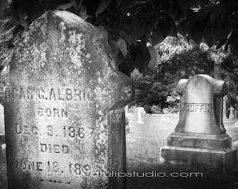 Spooky Headstones Graves Old Victorian Period Cemetery Graves  Black and White Fine Art Photography Print or Gallery Canvas Wrap Giclee
