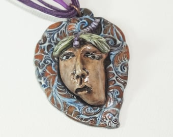 Dragonfly Goddess Mother Nature OOAK Pendant Necklace  Clay Jewelry
