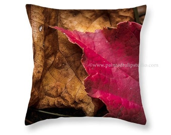 Square Pillow Fine Art Photography Autumn Fall Leaves Red Crimson Brown Tan Rustic Home Decor