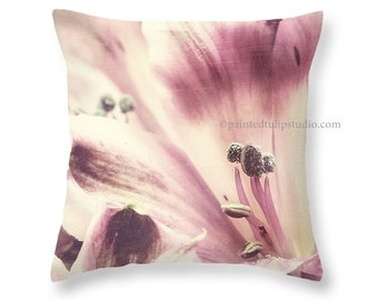 Faded Lily Flower Cottage Chic, Shabby Elegance, Pink Mauve Cream Romantic Soft Dreamy Square Pillow Fine Art Photography Home Decor