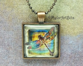 Abstract Multicolored Dragonfly Art Pendant Necklace, Boho Chic Funky Design, Pendant Necklace Jewelry