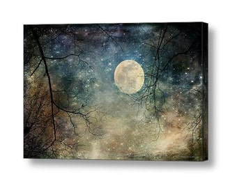 Surreal Moonlit Night Tree Branch Silhouette Landscape  Full Moon Nighttime Spooky Gothic Romance Landscape Giclee Gallery Wrap Canvas Art