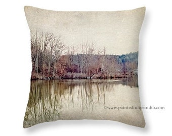 Square Pillow Fine Art Photography, Winter's Lake Landscape Rustic Home Decor