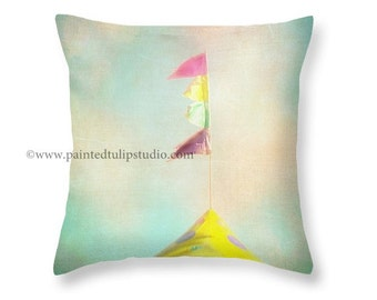 Carnival Circus Pennant Flags Pastel Colors Nursery Children's Room Aqua Mint Pink Purple Yellow Pillow Fine Art Photography Home Decor