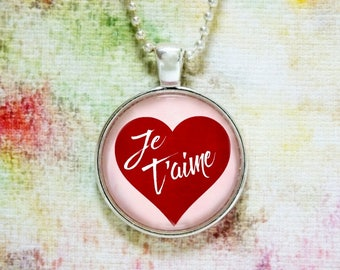 Je T'aime, I Love You French Valentine's Day Jewelry Pendant Red White Pink Charm Necklace or Key Ring Anniversary Valentines's Day