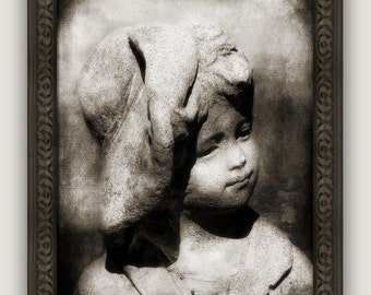 Still Life Garden Statuary Little Boy and Hat Sepia, Rustic, Cottage Style Decor Fine Art Photography Print or Gallery Canvas Wrap Giclee