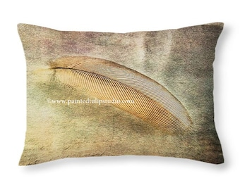 Tranquil Zen Meditation Small Feather Nature Woodland Accent or Travel Pillow, Rectangle Pillow with Fine Art Photography Home Decor
