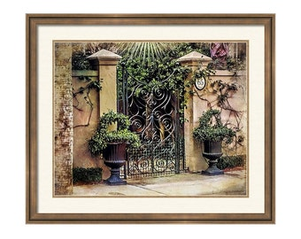 Charleston South Carolina Architecture Scroll Wrought Iron Gate Entrance Fine Art Photography Print or Gallery Wrap Canvas