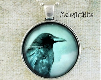 Crow Raven Spirit Animal Jewelry Necklace, Gothic Crow, Goth Gothic Jewelry, Black Teal Blue, Native American Raven Crow Totem, Supernatural
