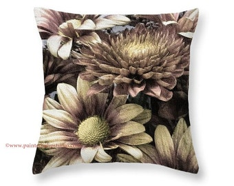 Square Pillow Home Decor Autumn Mums Floral Flower Bouquet Chrysanthemums