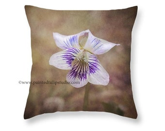 Purple and White Violet Wildflower Nature Botanical Rustic Cottage Style Decor, Woodland Square Pillow Fine Art Photography Home Decor