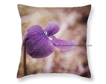 Violet Wildflower Nature Botanical Rustic Cottage Style Decor, Woodland, Square Pillow Fine Art Photography Home Decor