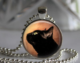 Black Cat Photo Pendant Necklace Jewelry