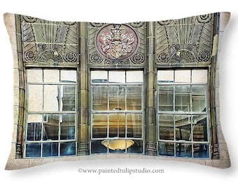 Architectural Art Deco Window with Reflections Accent or Travel Pillow, Rectangle Pillow with Fine Art Photography Home Decor
