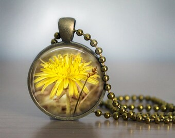 Yellow Dandelion Flower Photo Pendant Necklace, Rustic Woodland Bohemian Nature Lover Jewelry