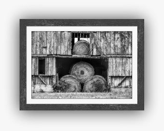 Hay Bales Weathered Barn Door and Loft Rustic Black and White Barn Architecture Rural Countryside North Carolina Fine Art Photography Print
