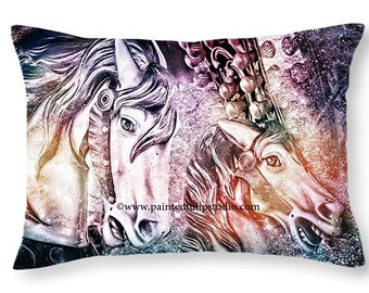 Colorful Fantasy Carousel Horses Travel or Accent Pillow, Rectangle Pillow with Fine Art Photography Home Decor