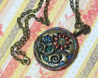 Boho Hippie Daisy Flower Pendant Necklace Polymer Clay Jewelry
