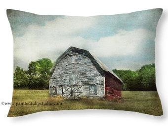 Weathered Old Rustic Barn, Rural North Carolina Country, Accent or Travel Pillow, Rectangle Pillow with Fine Art Photography Home Decor
