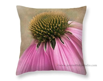 Purple Pink Eastern Coneflower Floral Shabby Elegance French Country Style Decor, Cottage Garden Pillow Fine Art Photography Home Decor