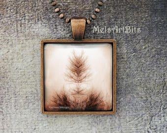 Surreal Spiritual Tree Branch of Life Inkblot Rorschach Mirror Image Sepia Brown Tones Digital Photo Art Pendant Necklace