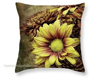 Mum Floral Flower Chrysanthemums Rust Yellow Orange Brown Olive Green Square Pillow Fine Art Photography Home Decor