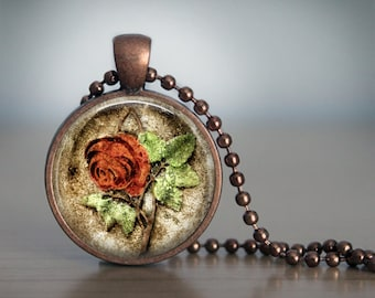 Cemetery Rose Headstone Pendant Necklace
