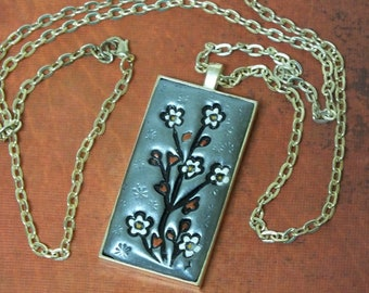 Flowering Cherry Blossom Tree Japanese Asian Inspired Pendant Necklace
