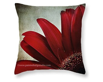 Square Pillow Home Decor Crimson Red Romantic Mum Floral Flower Chrysanthemum Macro Dramatic Dark Elegant Rich Colors