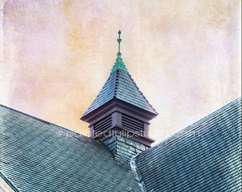 Architecture Church Cupola Rooftop Teal Lavender Pink Yellow Sky Square Fine Art Photography Print or Gallery Canvas Wrap Giclee