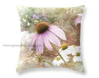 Shabby Cottage French Country Vintage Look Pastel Pink Coneflower Floral with French Script Pillow Fine Art Photography Home Decor
